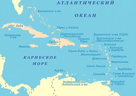 Карибские острова. Карта острова