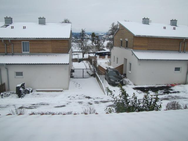 Первый снег у нас в городке!(вид из моего окна)